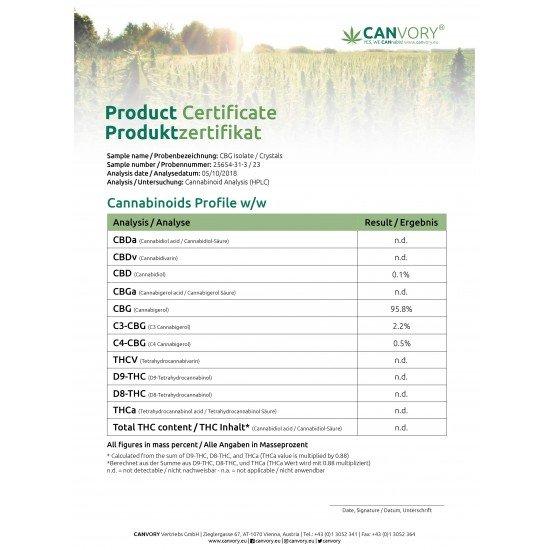 CBG Isolate Cannabigerol Crystals 97 %, 500mg